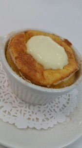 Butternut squash souffle with Brown Butter anglaise'