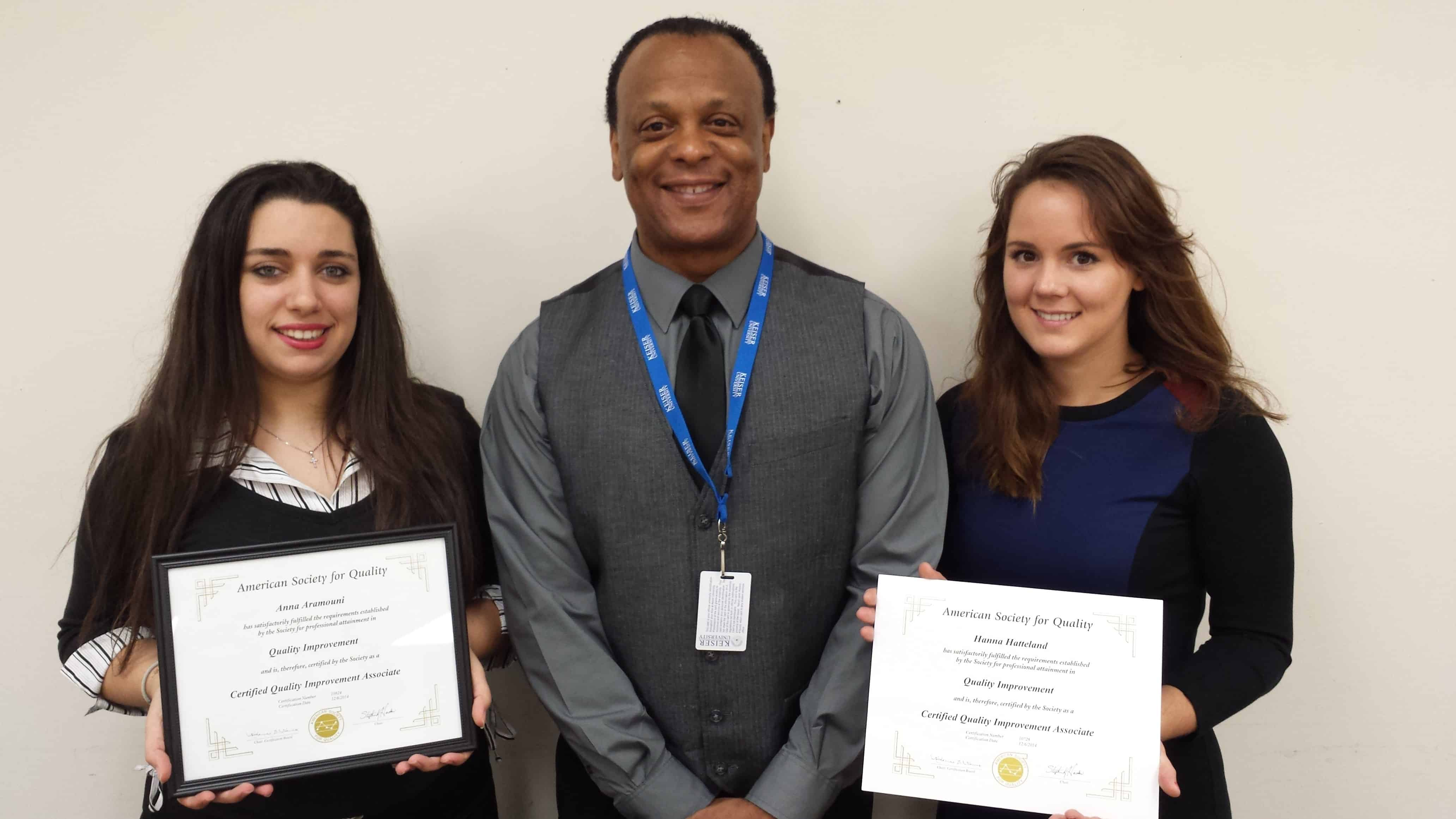 Two Business Administration Students from the West Palm Beach Campus Passed the ASQ Quality Improvement Associatied Certification