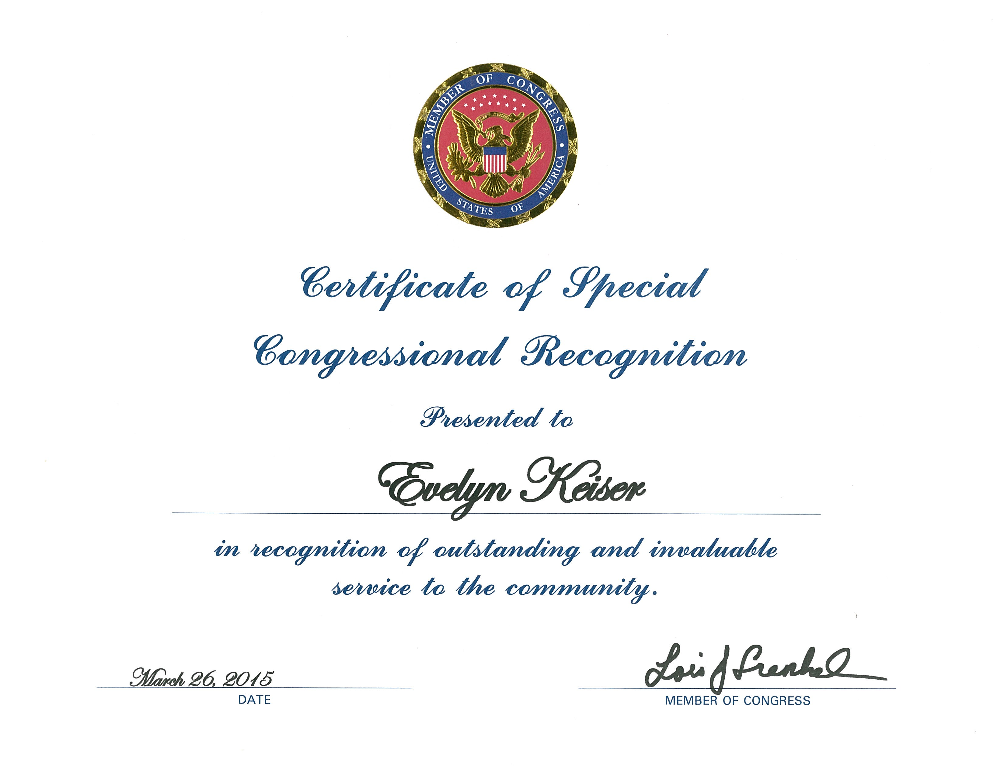 Evelyn Keiser, Co-Founder of Keiser University, Recognized in the Congressional Record for Induction into the Florida Women's Hall of Fame