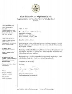Rep. Gwyndolen Clarke Reed letter April 2015
