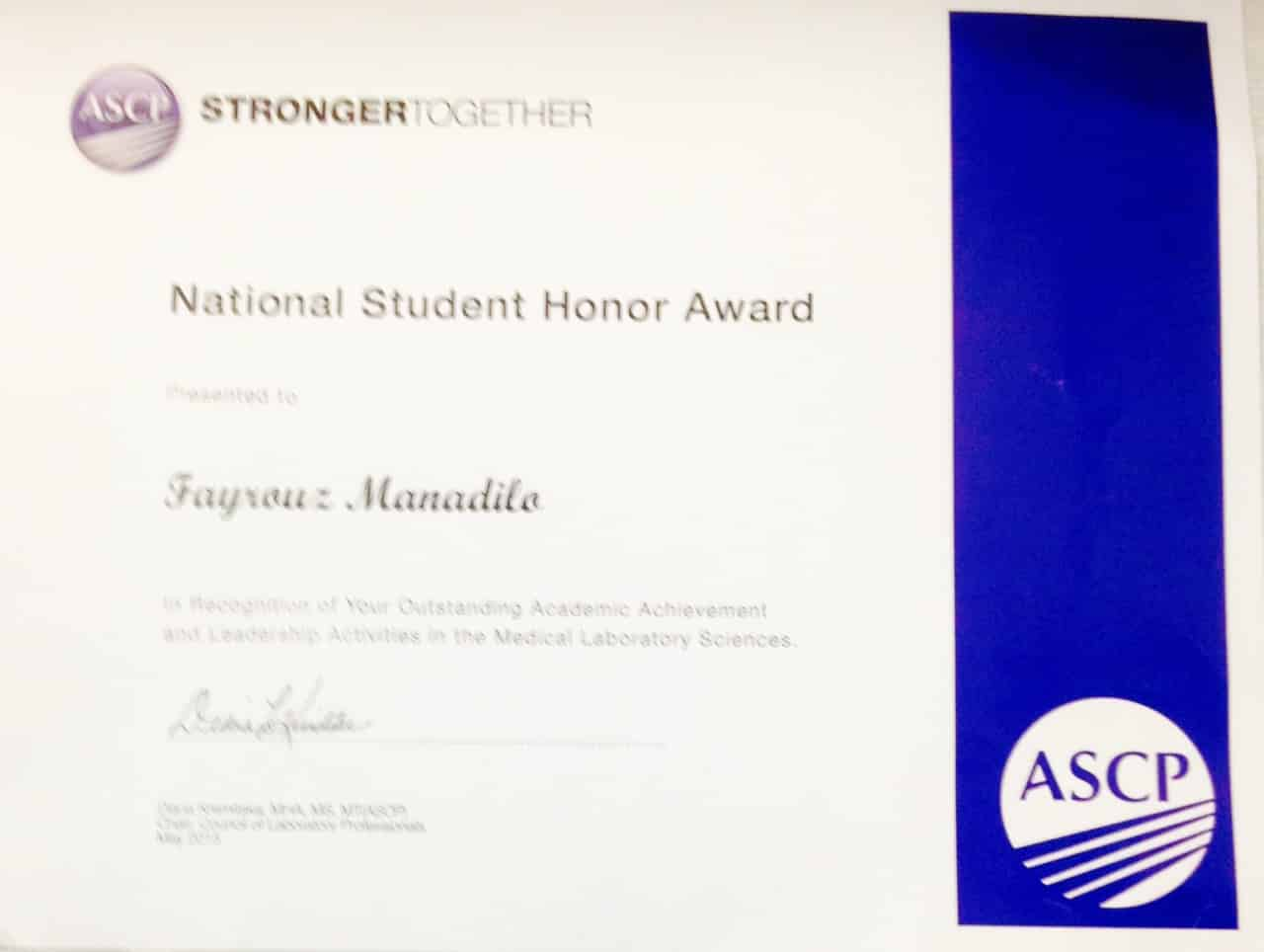 Orlando Histotechnology Students Receive the National Student Honor Award