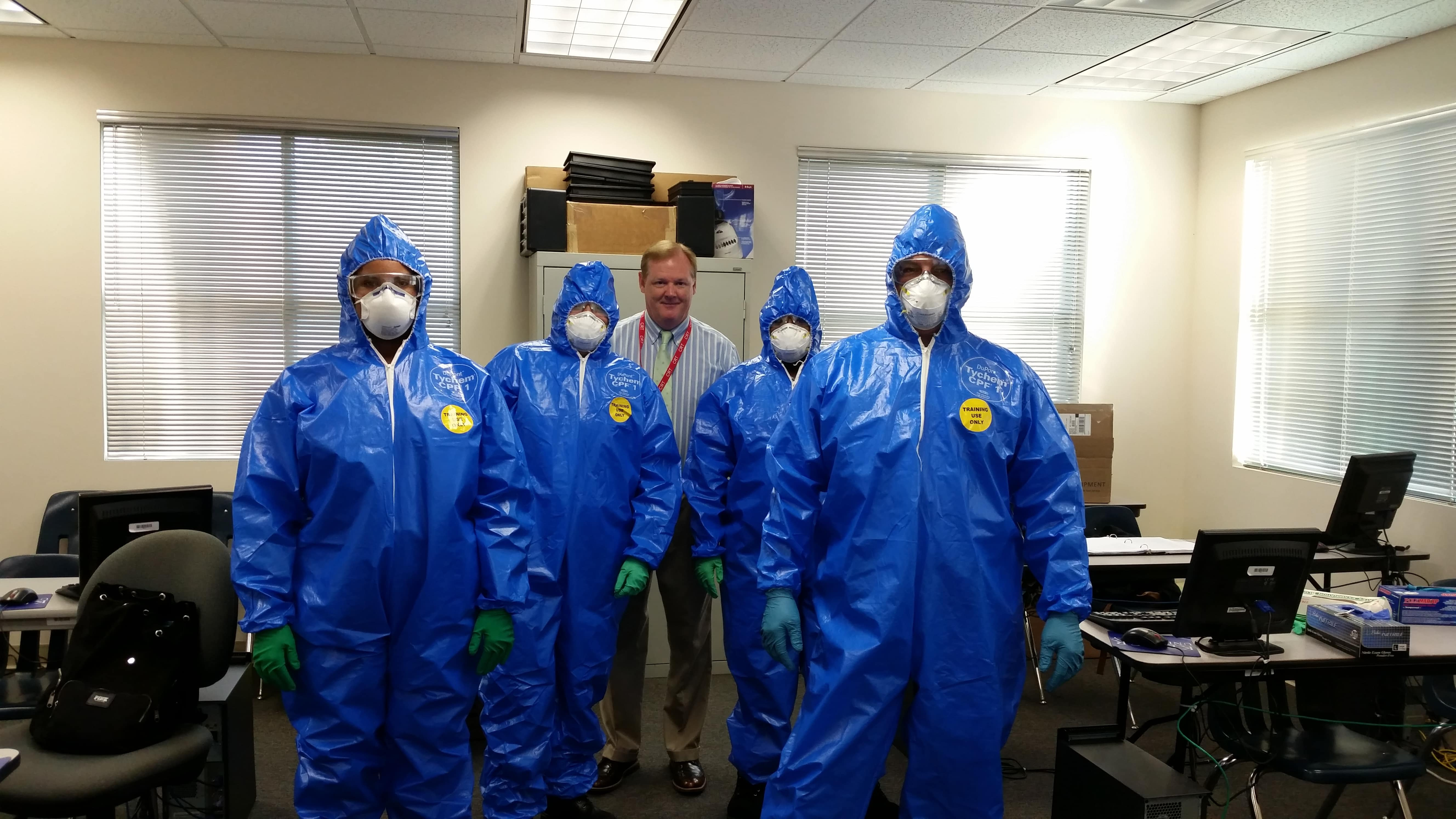 Sarasota Forensic Investigation Students in Personal Protective Equipment for Crime Scene Safety Course
