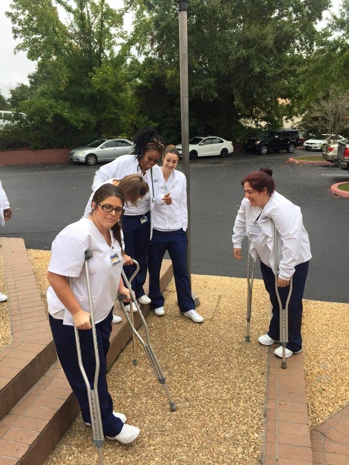 Tallahassee Nursing Students Learning how to use Assistive Devices and Restraints