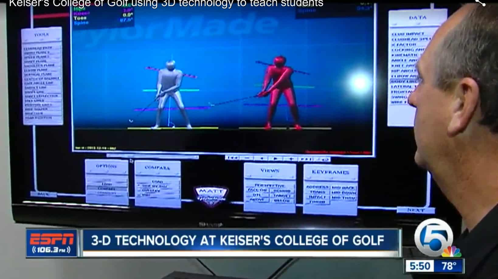 College of Golf Faculty Speak with the Local Sports Anchor About the Technology Offered at the Flagship Campus to Students