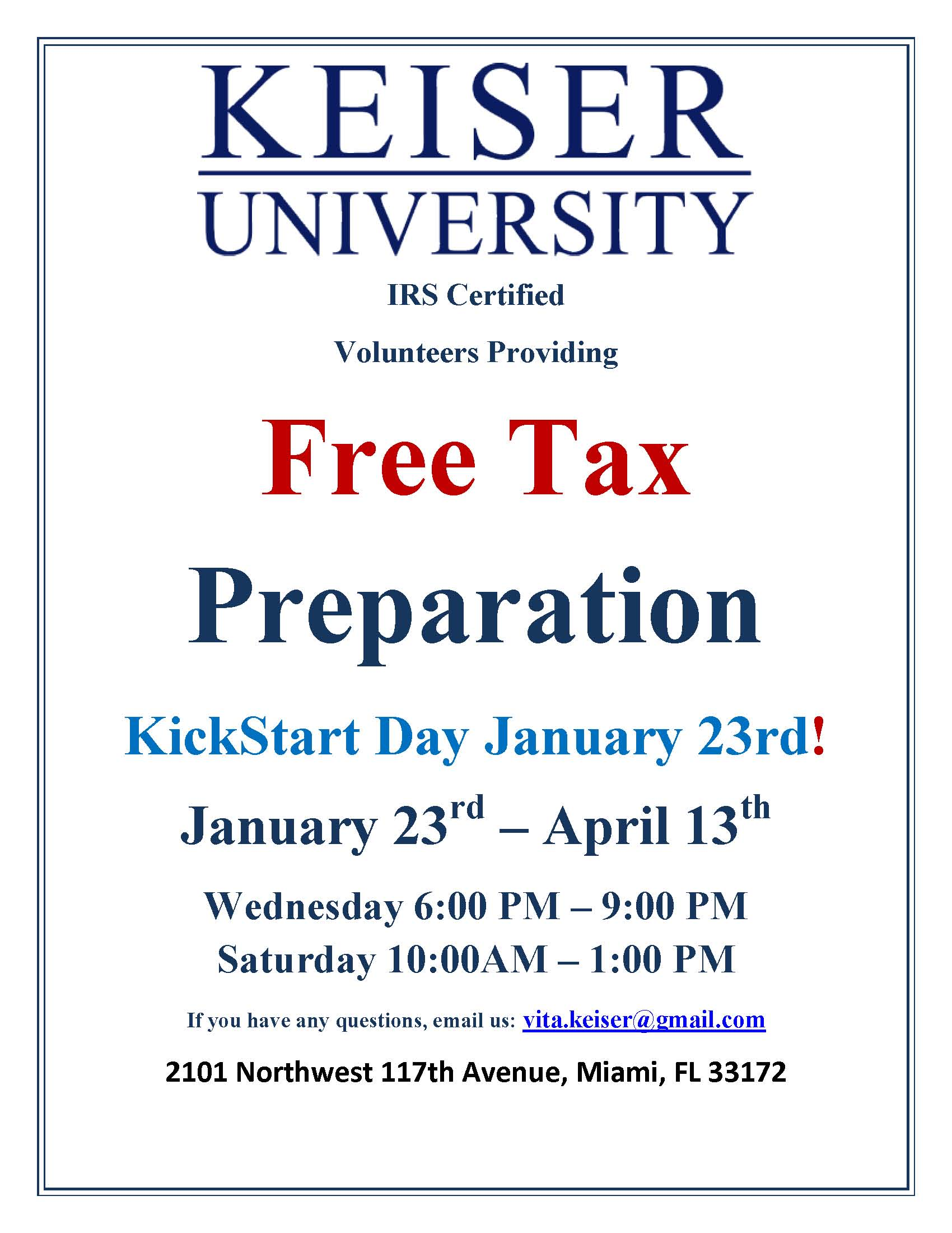 Free Tax Preparation at the Miami Campus