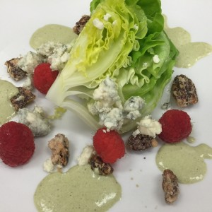 lettuce with roasted pecans, raspberries, cheese and dressing McGuinness