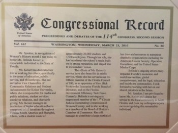 Mrs. Keiser congressional record and women's history month March 2016