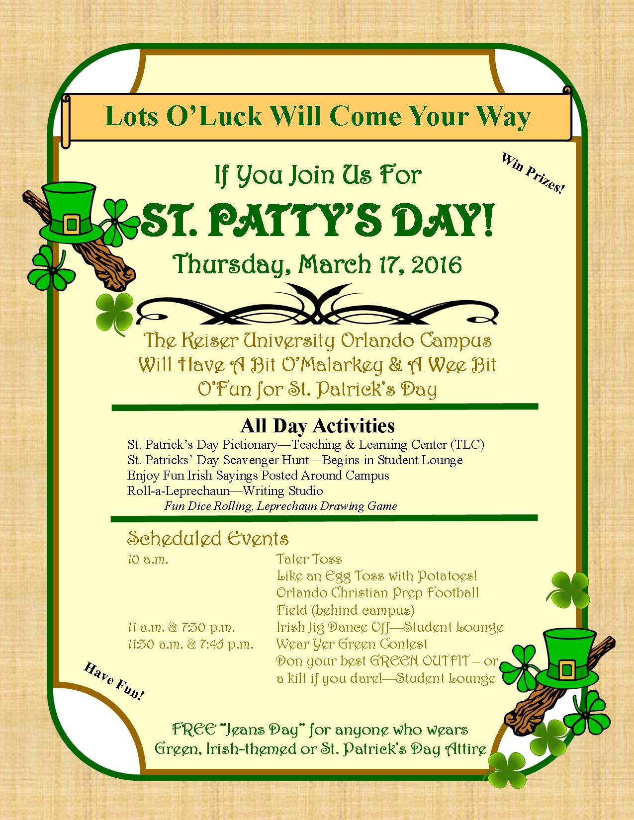 St. Patrick's Day Activities at the Orlando Campus