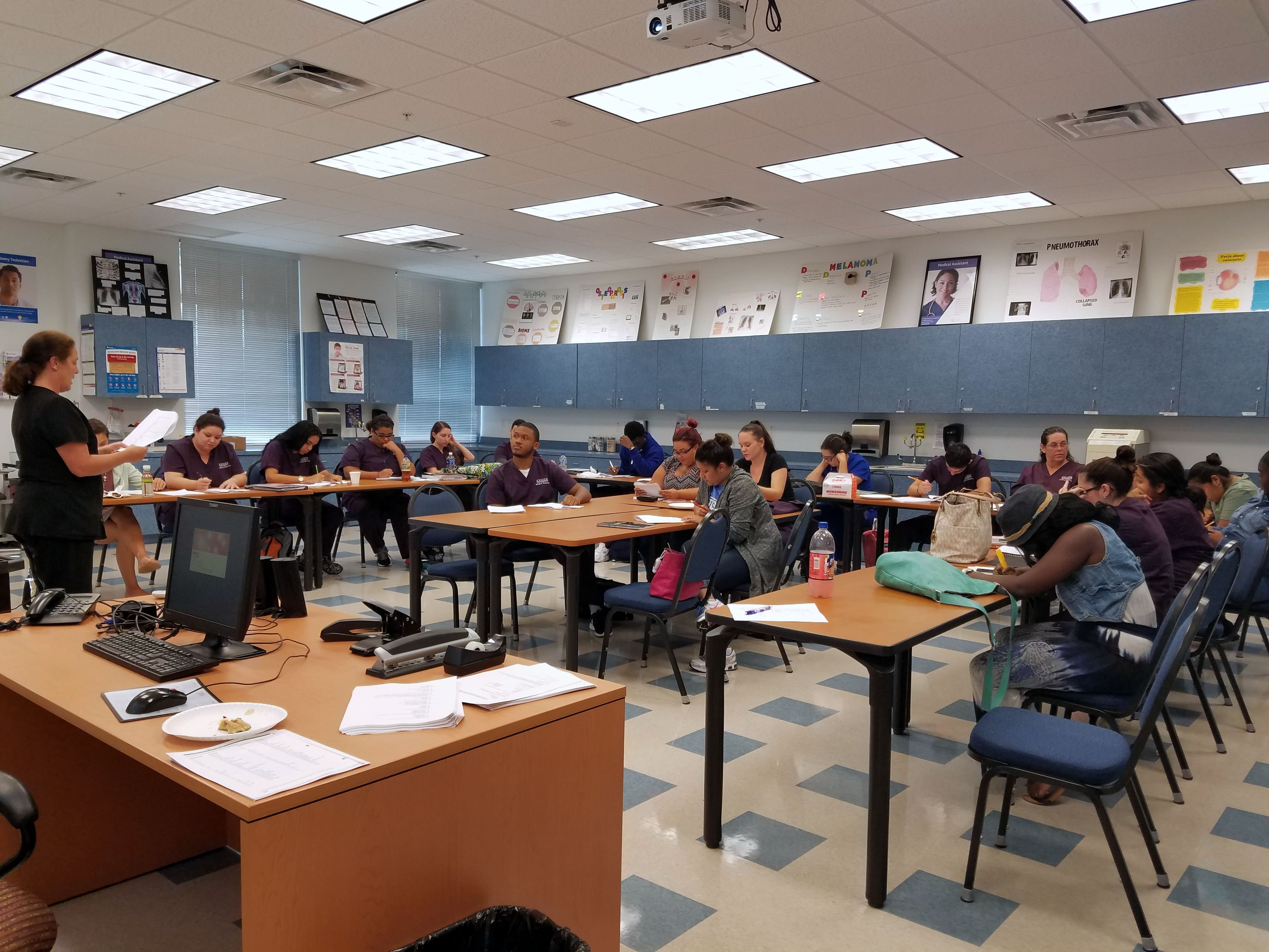 Fort Myers Keiser University Medical Assistant Students Study Up for Big Exam