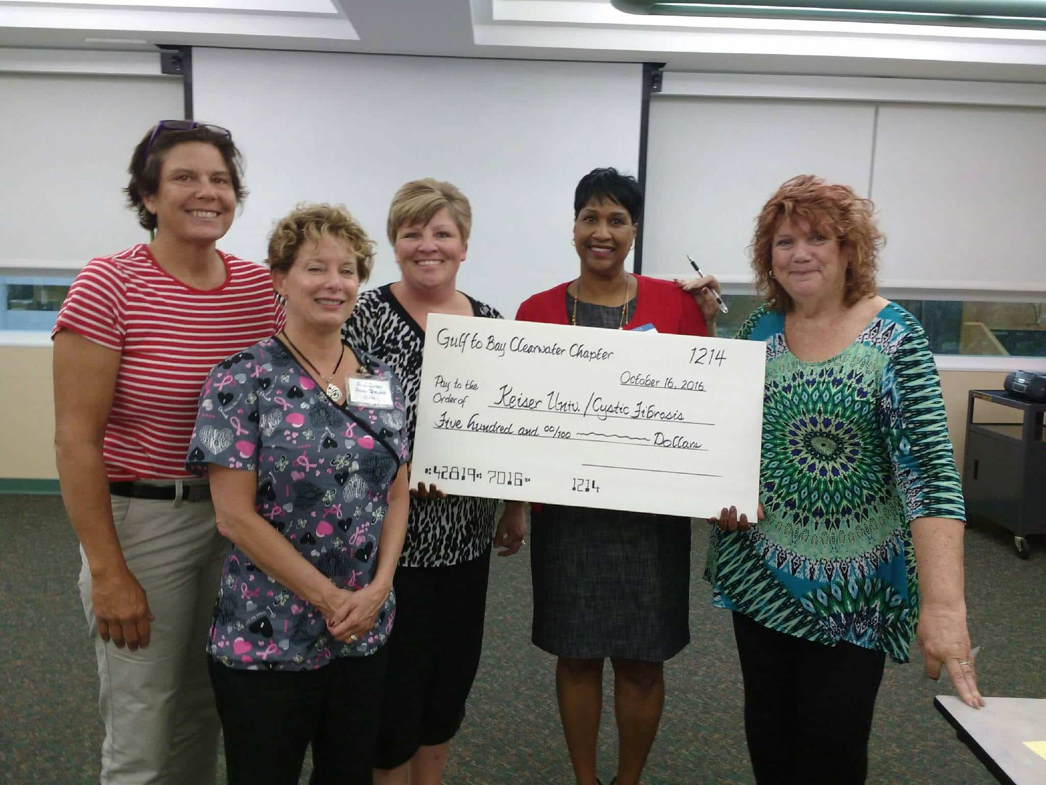 Cystic Fibrosis Fundraiser Donation From Gulf To Bay Clearwater Billers and Coders