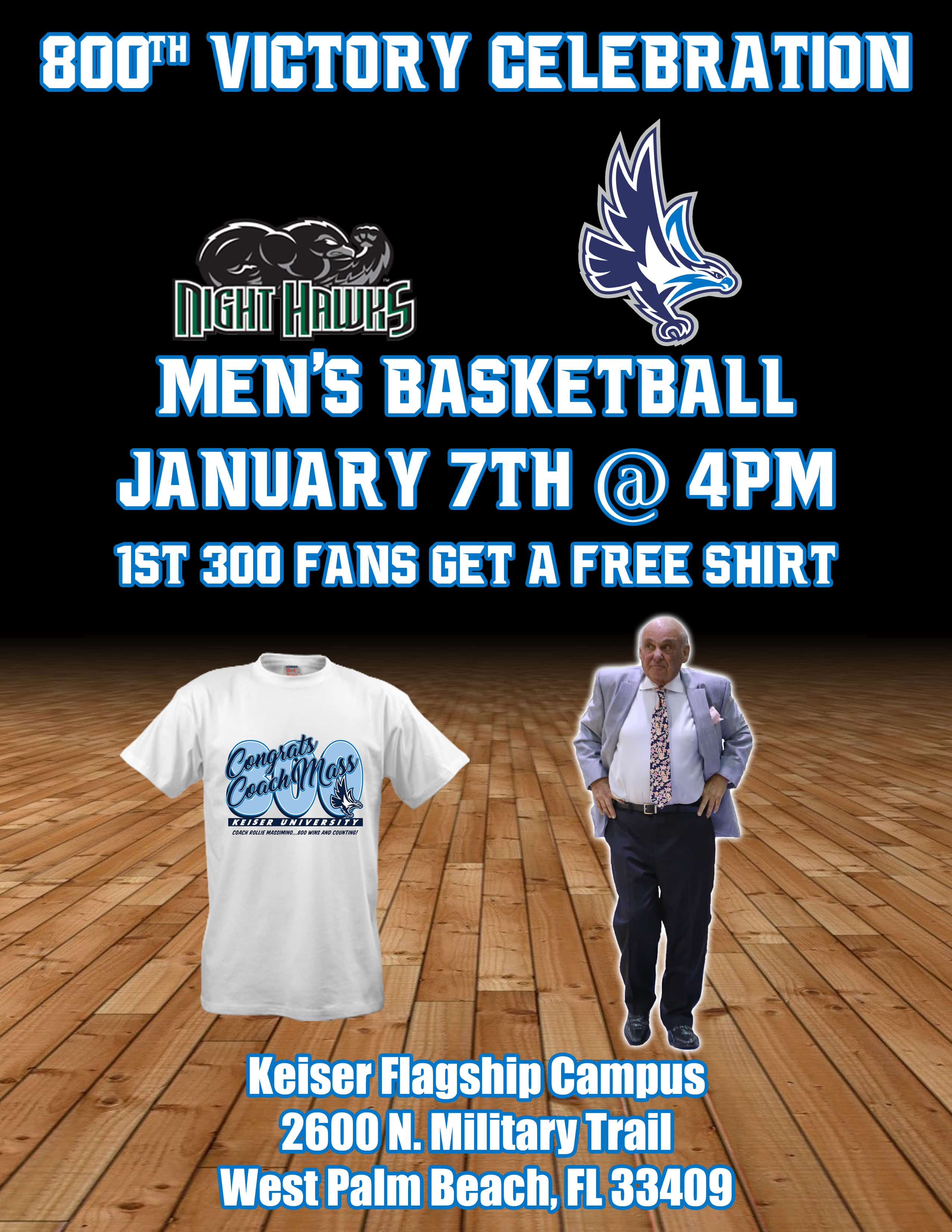ATTENTION Keiser Community!! You are Invited to Attend the 800th Victory Celebration in Honor of Rollie Massiminio!
