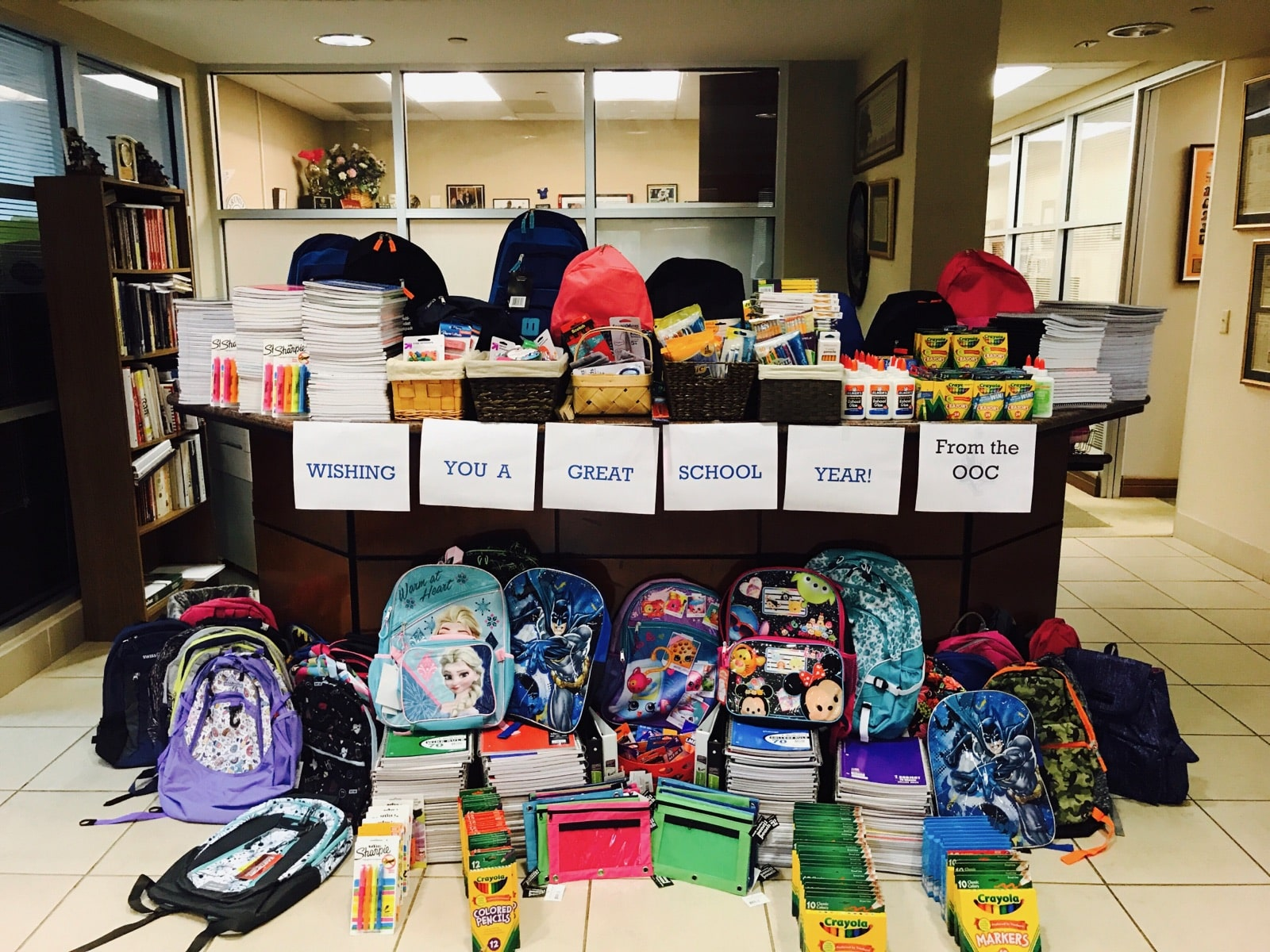 The OOC Collects School Supplies for Needy Children