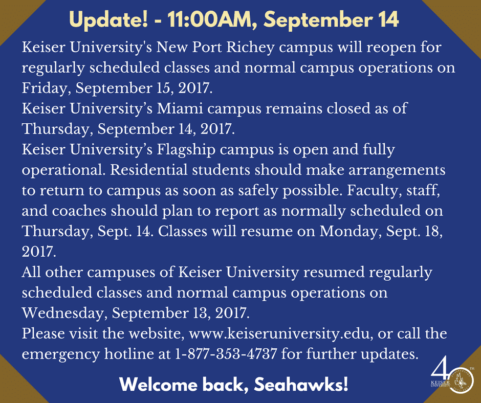 UPDATE on Campus Openings