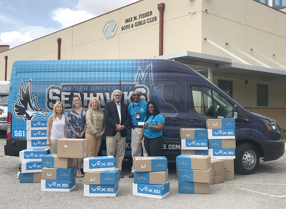 Keiser University and Kids in STEM Present Robotics Learning Tools from the Robotics Education & Competition (REC) Foundation to Boys and Girls Club Members