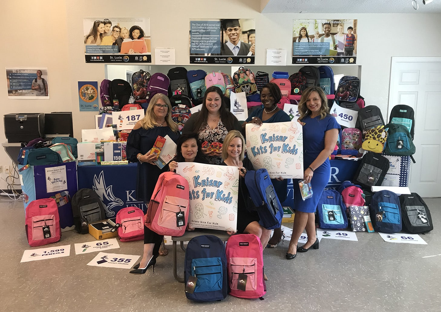 Keiser University's Port St. Lucie Campus School Supply Drive Benefits School District's Homeless Students