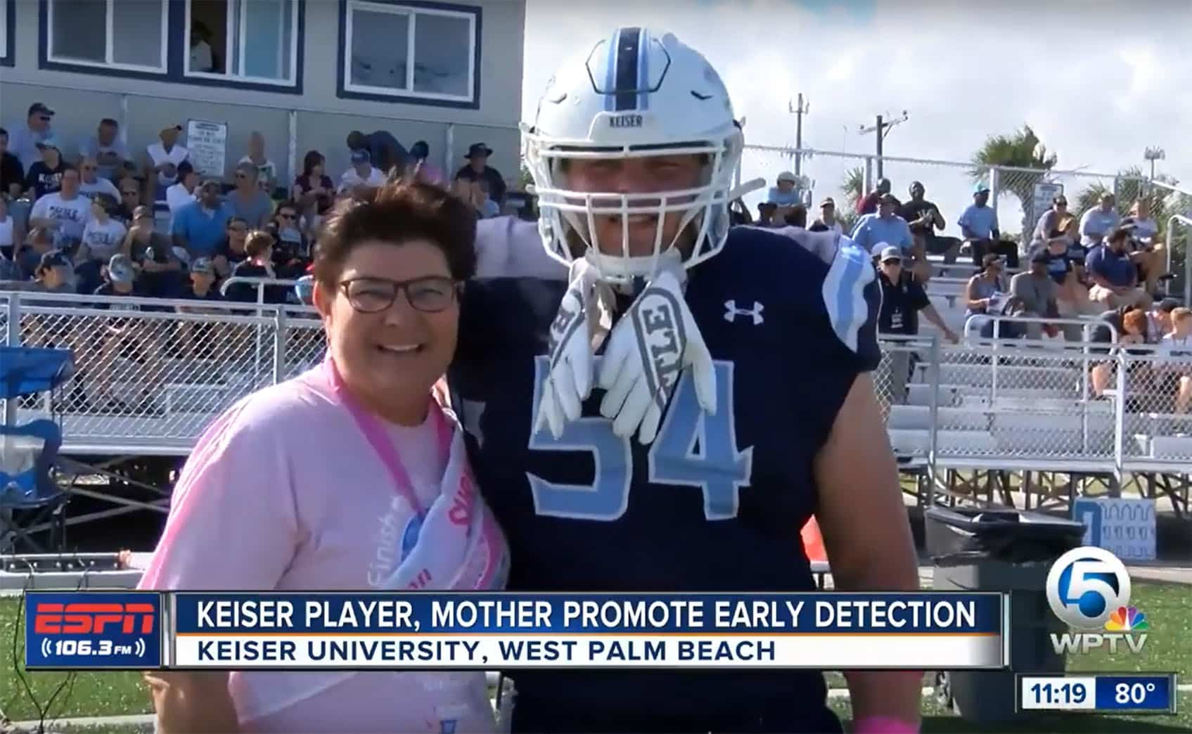 Keiser University Football Player Honors Mother on the Field as the Two Promote Early Breast Cancer Detection