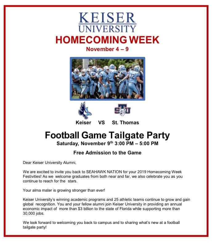 Keiser Homecoming Tailgate Party