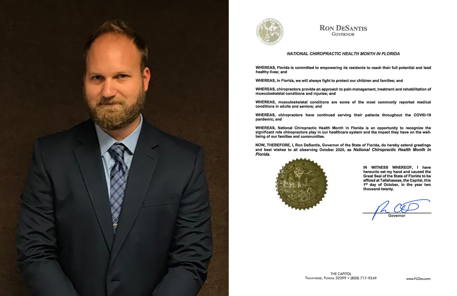 Keiser University College of Chiropractic Medicine Graduate Obtains Gubernatorial Proclamation