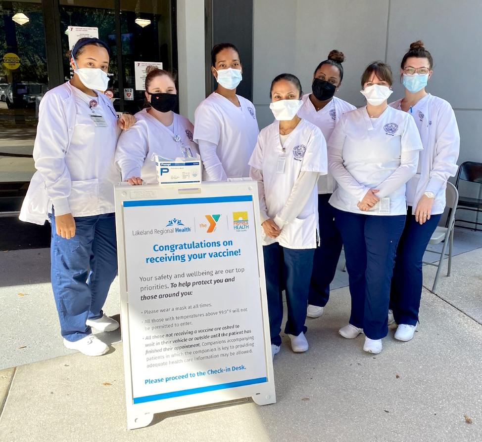Keiser University nursing students assist with vaccine distribution at Lakeland Regional Hospital